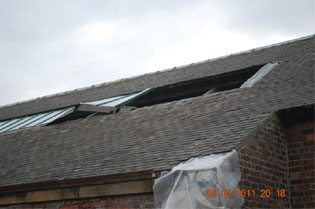 roof damage outside